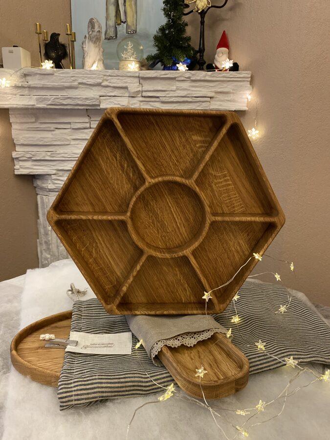 Sešstūru ozolkoka šķīvis Ø35cm